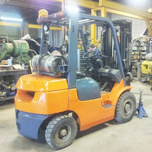 Leased Yellow Forklift in Warehouse